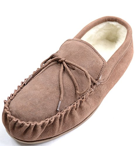 brown rubber with Brown sole Boot Men's Style Moccasin Light Slippers Sheepskin YCwUZcxq6