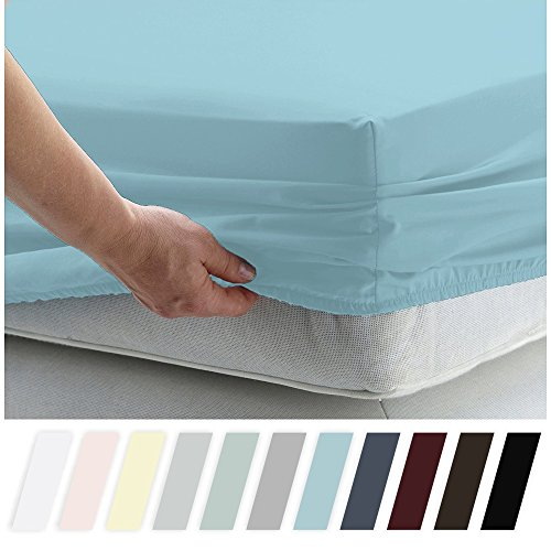 California Design Den 400 Thread Count 100% Cotton 1 Fitted Sheet Only, Long - Staple Combed Pure Natural Cotton Sheet, Soft & Silky Sateen Weave (Cal King, Blue)