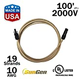 100 FEET SunGen Solar Panel Extension Cable Wire (100 Ft.) with MC4 Connectors PV UL-LISTED 10AWG – 2000V (100)