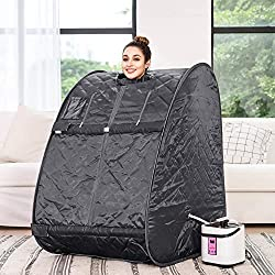 OppsDecor Portable Steam Sauna Spa, 2L Personal Therapeutic Sauna for Weight Loss Detox Relaxation at Home,One Person Sauna with Remote Control,Foldable Chair,Timer(US Plug) (Gray)