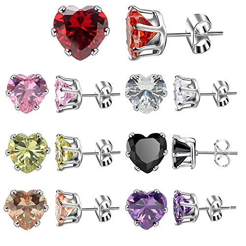 XZP Brilliant Week Use Zirconia Stud Earrings Heart Love Jewelry 7 Pair Stainless Steel Women's Earrings Sets ()