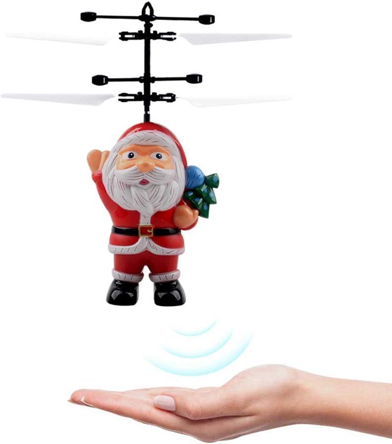 Kylewo Bola voladora del Sensor infrarrojo eléctrico, Bola voladora del Sensor infrarrojo eléctrico Helicóptero de Papá Noel Juguete liviano LED