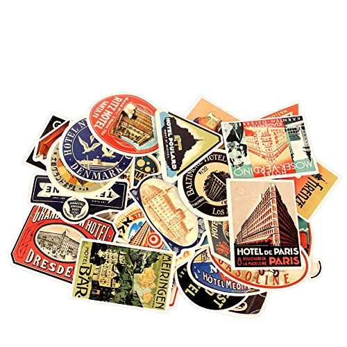 (50 Pcs Vintage Laptop Stickers, Merssyria Famous Hotel Logo Theme Stickers Car Sticker Motorcycle Bicycle Luggage Decal Graffiti Patches Skateboard)
