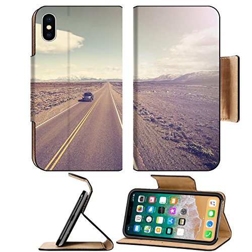Luxlady Premium Apple iPhone X Flip Pu Leather Wallet Case IMAGE ID 31455043 Vintage picture of car on endless country highway Ruta 40 in - Usa Argentina From To Shipping