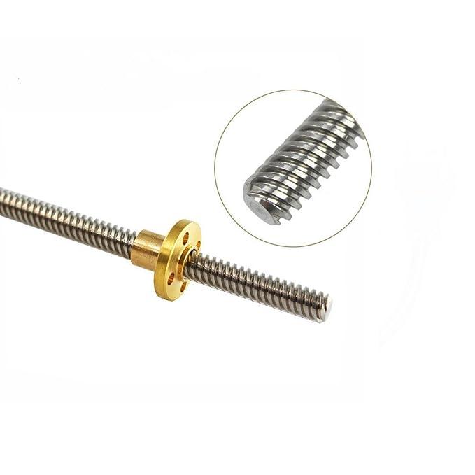 8D 3D Drucker Teil T8 F/ühren Schraube Dia 8 mm Pitch 2 mm Blei 4 mm L/änge 300 mm mit Kupfer Mutter thsl-300