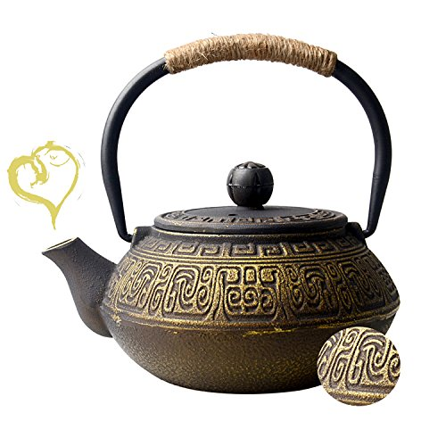 Hwagui - Chinese Style Cast Iron Tea Pot Make The Best Tea Brewing and Benefit for Body (600ml/20oz)