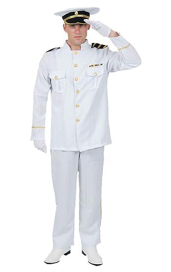 Mens White Sailor Captain Costume Navy Officer Gentleman Size M XL