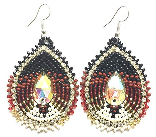 Handmade Seed Beaded Teardrop Hook Earrings (Brown)