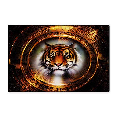 Gold Bronco Head - Tiger Floor Mat for Kids Ancient Mayan Calender Design with Big Hunter Cat Head Wise Feline Old Cultures Floor Mat Pattern 32