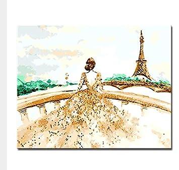 MSCLOVE Marco De DIY Pintura Digital por Kit Digital para Colorear Dibujo Elegante Señora con Torre De París Lienzo Imagen Pared Artista Residencia ...
