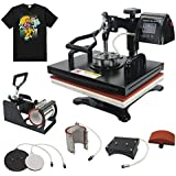 "RoyalPress Professional 12"" x 15"" Color LED 360-degree Rotation Sublimation Heat Transfer 5 in 1 Multifunction Combo Heat Press Machine Hat/Mug/Plate/Cap/T-Shirt Black (5 in 1)"
