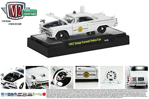 Scale Single Car Display Case (1957 Dodge Coronet White Police Car M2 Machines Detroit Cruisers 2014 Castline 1:64 Scale Die-Cast Vehicle (12-29))