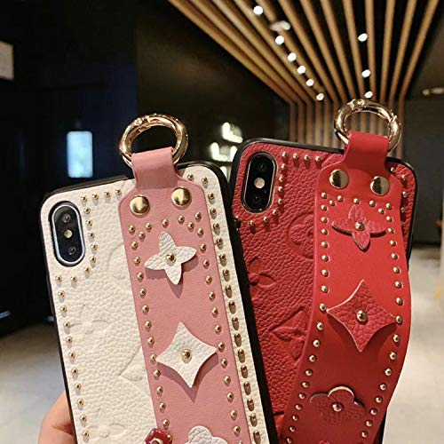 New Women Men Phone Case Fashion New Rivet Fashion Phone case Cover for iPhone 7plus 8plus 6Splus 6 7 8 X XS max Xr 6.5 inch 6.1 Wrist Strap case,Orange,for iPhone Xr orange iphone xr case 7