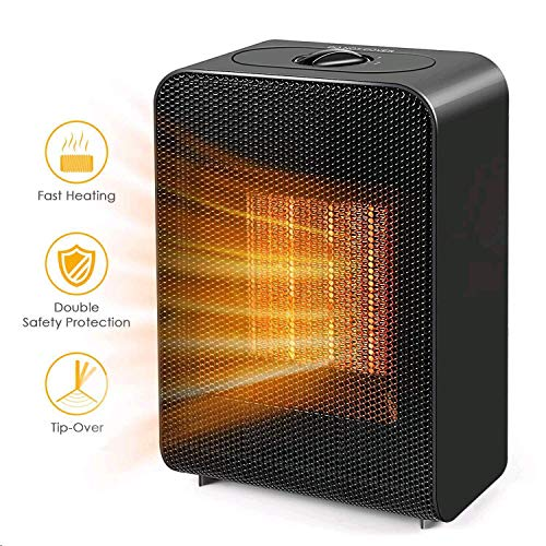 Portable Space Heater, Indoor 750W/1500W Ceramic Electric Heater for Home/Office/Bedroom and Bathroom with Overheat Protection & Tip-Over Protection, Personal Desk Heater