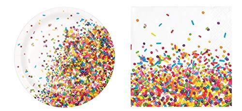 Confetti Sprinkles Dessert Plates (16) and Beverage Napkins (16) Bundle