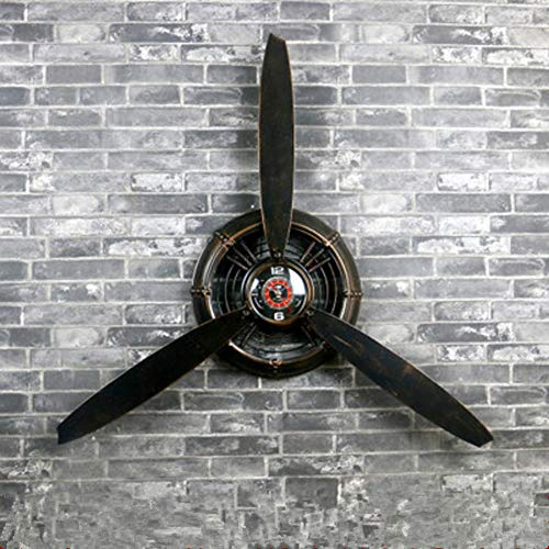 HAOLY Creative Wall Clock,Vintage Industrial Wind Decorations Aircraft Propeller Wall Clock,Wrought Iron Wall Decoration Wall Hanging Shop-A 67x7x67cm(26x3x26inch) ()