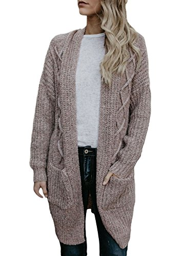 HOTAPEI Ladies Fall Winter Warm Pockets Cable Knitted Long Sleeve Loose Open Front Cardigan Sweaters for Women Coffe Large