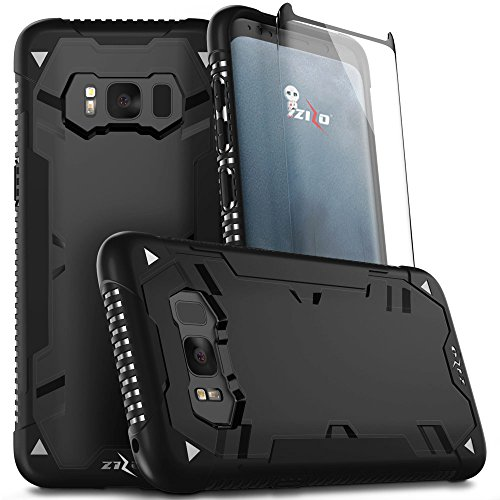 Zizo Proton 2.0 Series Compatible with Samsung Galaxy S8 Case Military Grade Drop Tested with Tempered Glass Screen Protector Black