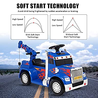 VALUE BOX Kids Ride On Truck Crane 2.4G Remote Control w/ 3 Speeds, Children Electric Ride-on Toy Car 6V Battery Motorized Vehicles Age 3-7 w/ LED Lights, Horn, Music, Easy Start/Stop Button (Blue): Toys & Games