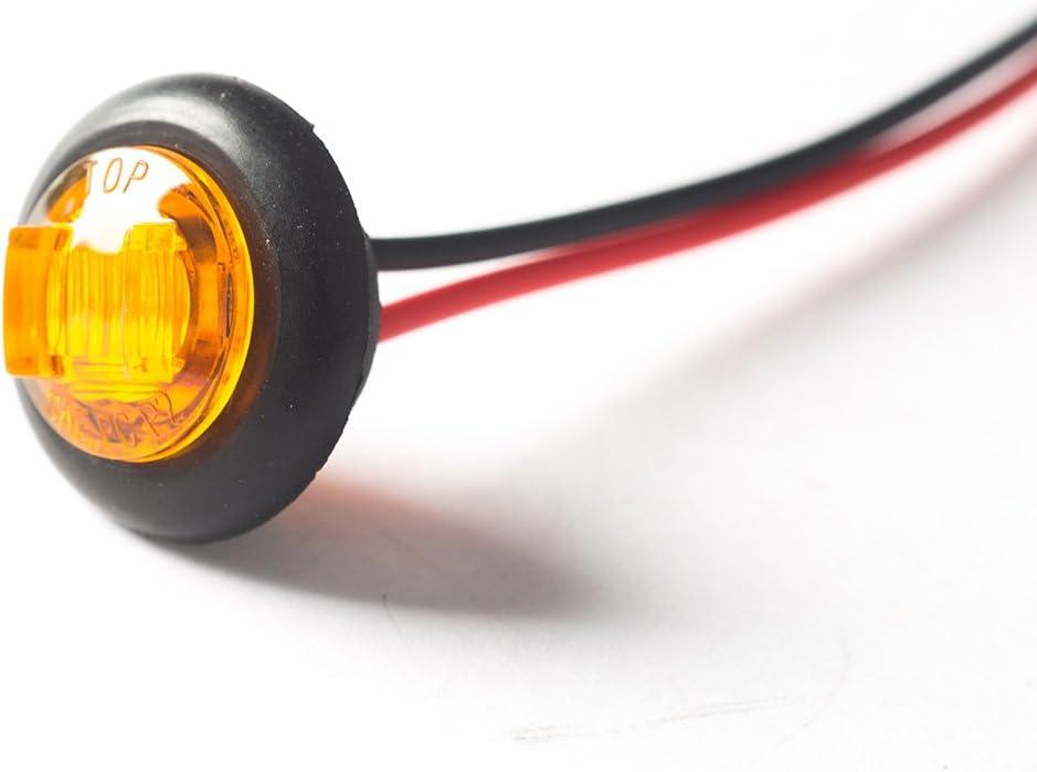rosso, 10pcs Wildauto 10 pcs 3Leds 12V 24V 0.75inch LED White Trailer Side Marker Light Truck Clearance Light Emark Certificate Lorry lamp