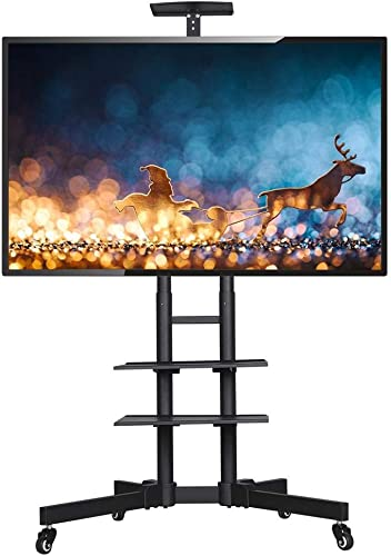YAHEETECH Adjustable Mobile TV Stand Rolling TV Cart Mount Universal fits 32 to 65 inch for LCD LED Plasma Flat Panel Screen with Locking Wheels and Storage Shelves
