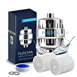 PureSpa High Output 13 Stage Shower Filter - Filters and Helps with the Removal of Chlorine, Fluoride, Nickel and Lead - Fits Any Showerhead - Water Softener with Vitamin C - 2 Replacement Cartridges
