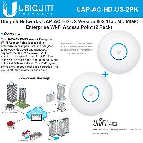 Ubiquiti UAP-AC-HD US (2Pack) 802.11ac MU MIMO Enterprise Wi-Fi Access Point by Ubiquiti Networks
