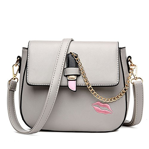 Bailiang Bag Shoulder Bag Crossbody Pu Womens Fashion Chain Gray Lipstick