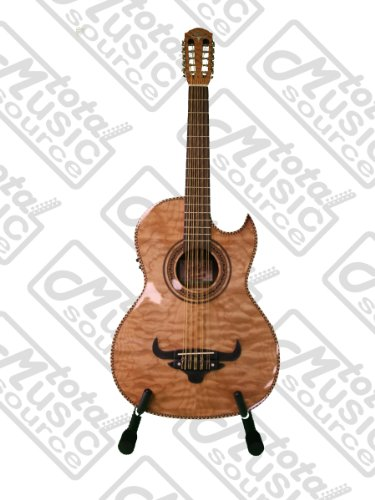 Oscar Schmidt OH32SEQN Acoustic-Electric Bajo Quinto with Burled Maple Top and Deluxe Gig Bag – Natural