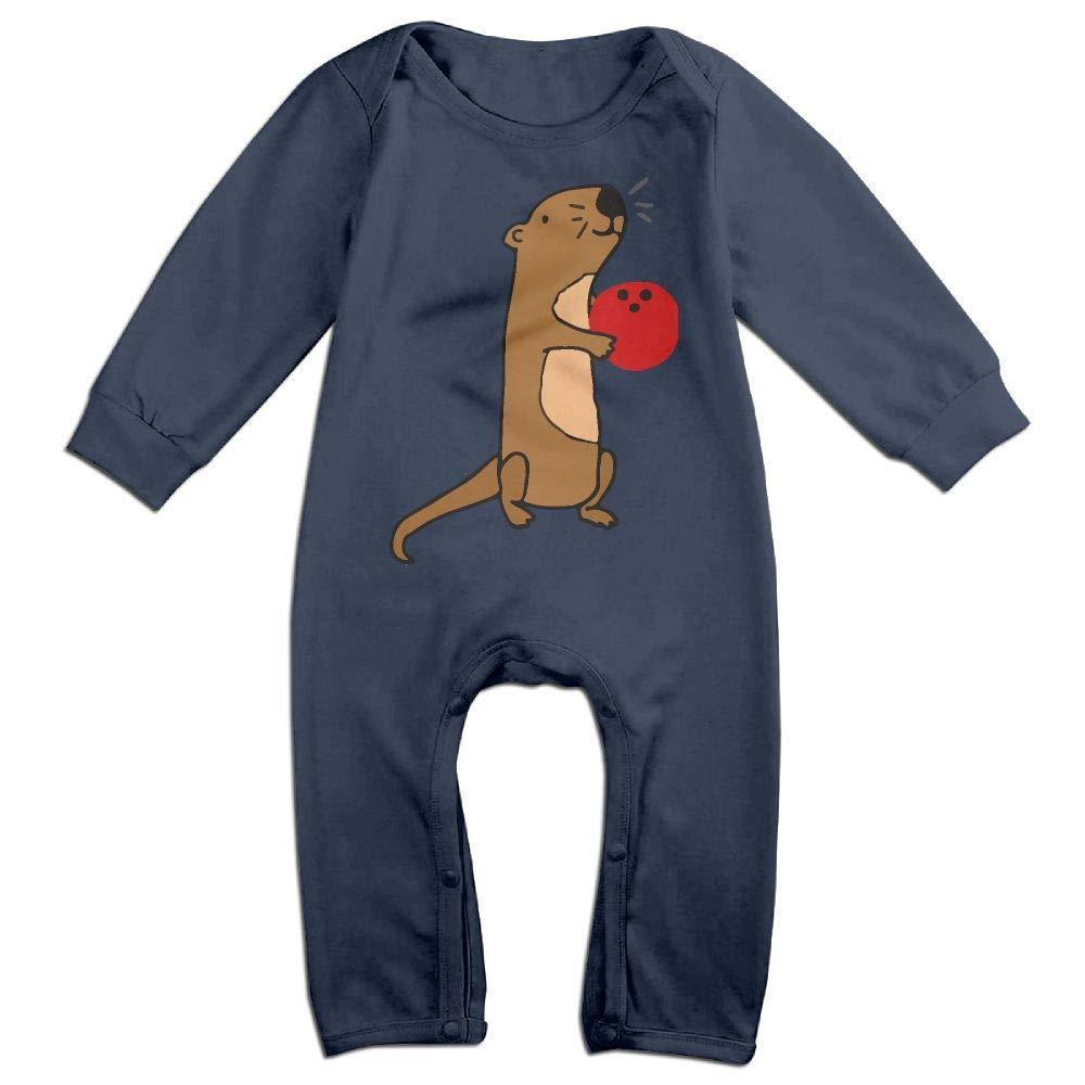 Mri-le1 Newborn Kids Coverall Cute Sea Otter Bowling Infant Long Sleeve Romper Jumpsuit