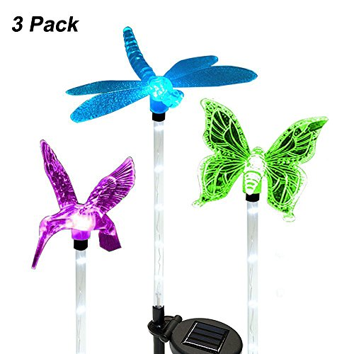 Landscape Lights, LED Outdoor Lights ,Solar Garden Landscape Butterfly Lights, Multi-Color Changing LED Pathway Light with a White LED Light Stake(lighting (Aluminum Tube Stakes)
