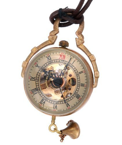 Glass Mechanical Pocket Watch - ShoppeWatch Necklace Pendant Pocket Watch Skeleton Hand Wind Mechanical Movement Steampunk Glass Orb Cosplay PW-13