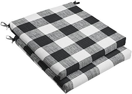 1101Design Premier Prints Black Buffalo Plaid 20 Bristol Decorative Indoor Outdoor Square Cushion Set, Perfect for Patio D cor – Black Buffalo Plaid Set of 2