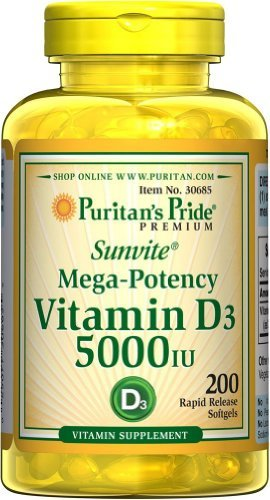 Aces 200 Softgels (Sunvite Mega Potency Vitamin D3 5000 IU 3 Pack Total of 600 Rapid Release Softgels By Puritan's Pride)