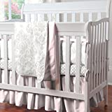 Carousel Designs French Gray and Pink Damask Mini Crib Bumper