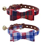 "#6: 2 pcs/set Adjustable Bowtie Small Dog Collar with Bell Charm 8-10"" PUPTECK"