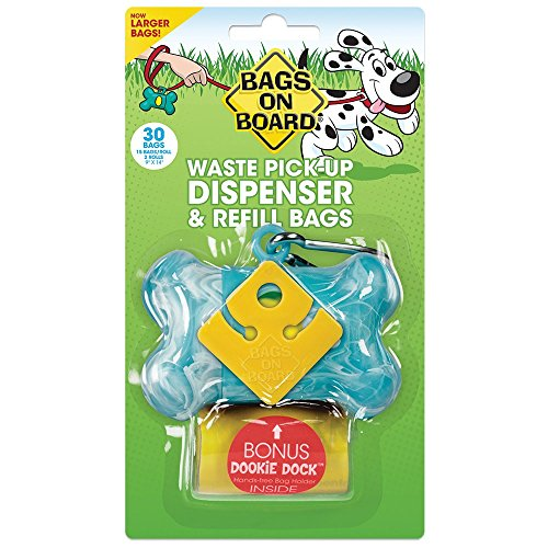 Bags on Board Dog Waste Bag Bone Dispenser with 30 Refill Bags Bags On Board Plastic Leash
