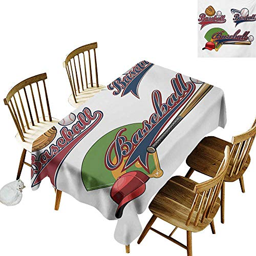 French Tablecloth W54 x L90 Sports Baseball Mitt Ball Bat Hardball Supplies Exercise Team Various Classical Designs Multicolor Clearable