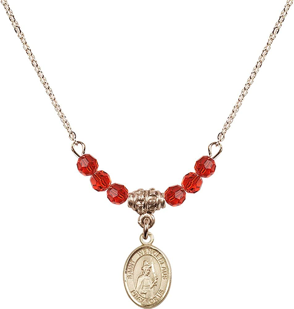 18-Inch Hamilton Gold Plated Necklace with 4mm Ruby Birthstone Beads and Gold Filled Saint Wenceslaus Charm.