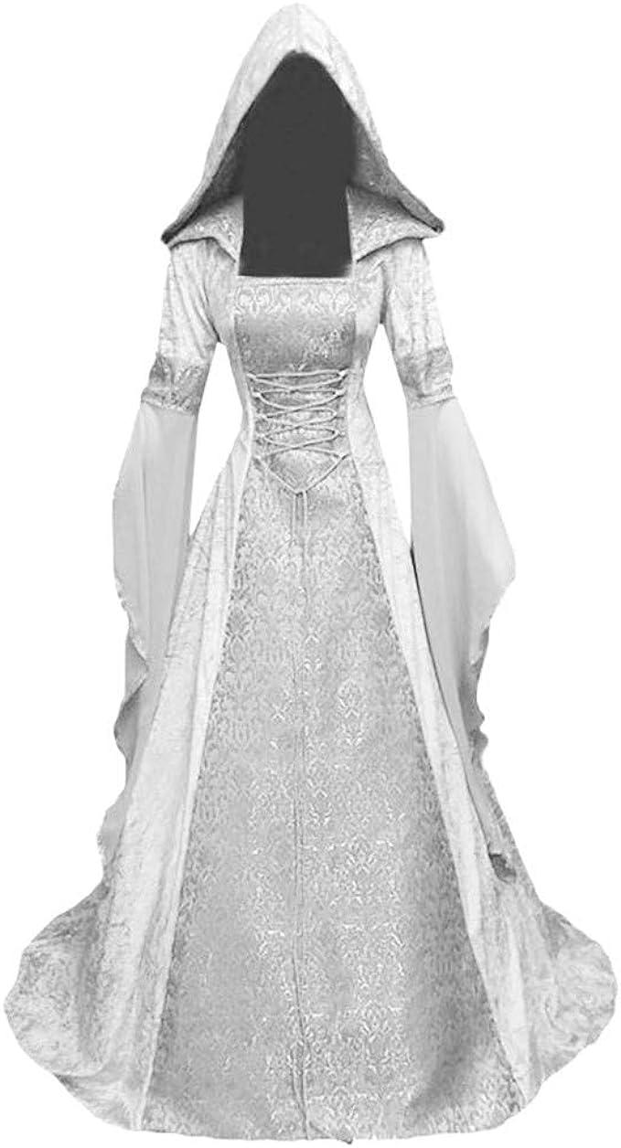 Reooly Vestido de túnica con Capucha de época Medieval de Mujer Tamaño Grande Manga Larga Palabra de Longitud Cosplay Maxi Vestidos Vestido de Fiesta Vestido de Noche: Amazon.es: Ropa y accesorios
