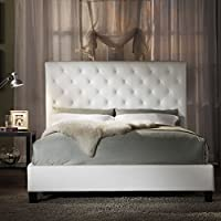 Home Creek Sascha Faux-Leather Tufted Slat Platform Bed