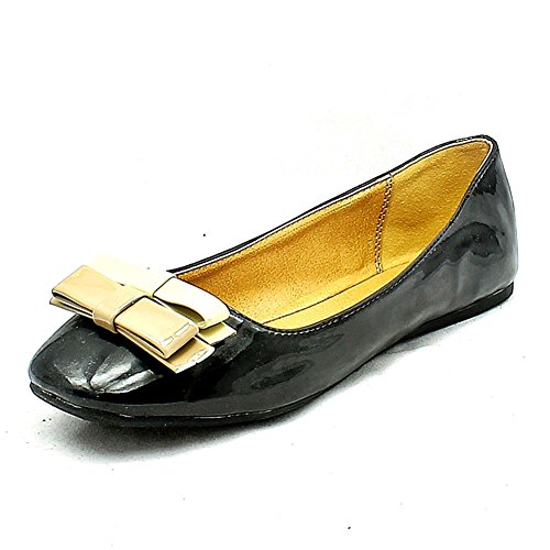 SendIt4Me Ladies Flat Shoes/Pumps with Brown Small Bow to Front Black 5tRFEmMe