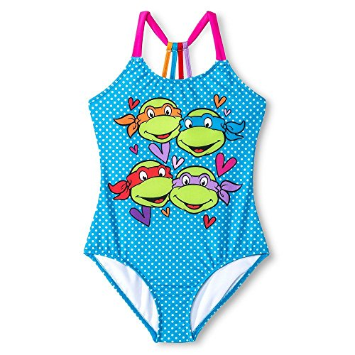 Girls' Nickelodeon Tmnt T-Back One-Piece Swimsuit Blue Jay (Small (Sizes 6-6X))