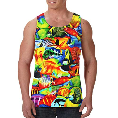 Colorful Fish Pattern Tank Top Boy Sport Vests Novelty Gym Workout T-Shirt