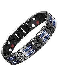 VITEROU Mens High Powered 3000 Gauss Black Double Row Four Element Titanium Magnetic Bracelet with Blue Carbon Fiber Insets