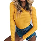 GEMBERA Womens Stretchy Long Sleeve Bodysuits Basic Bodycon Jumpsuits Rompers (S,Yellow)