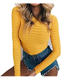 Womens Stretchy Long Sleeve Bodysuits Basic Bodycon Jumpsuits Rompers