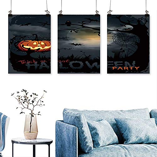 SCOCICI1588 3-Piece Modern Halloween Night Background with Pumpkin and Full Moon. Print On Canvas No Frame 24 INCH X 40 INCH X 3PCS ()