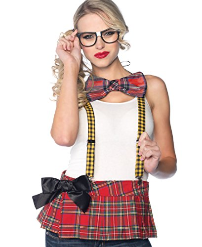 Leg Avenue 3 Piece Nerd Costume Kit Includes Suspenders Bow Tie and Glasses, Multicolor, One - Bow Nerd Glasses With