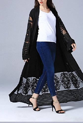 Coolred-femmes Robe Brodée Cardi Robes Musulmanes Style Dubai Abaya Noir